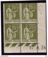 Paix 75c Yvert 284A, C De B+C2, Rare Erreur De Date 17-6-34, ** - 1930-1939