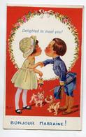 ILLUSTRATEUR 0201 RIGHT Bonjour Marraine Baiser Fillette Et Petit Militaire Chiens Bouledogues 1918  écrite - Right