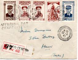 INDOCHINE  LETTRE RECOMMANDEE BUREAU SAIGON CENTRAL  CACHET 1943 - Covers & Documents
