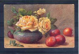 Carte Illustrée. Oilette N°3477. Roses Et Pommes - Blumen