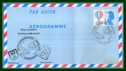 Aérogramme Ballon France Marignane 1983 Bureau Temporaire Jumelage Städtepartnerschaft BT Hélicoptère VW - Elicotteri