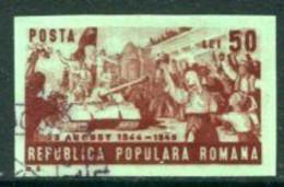 ROMANIA 1949 Overthrow Of Fascist Regime Imperforate Used.  Michel 1191B - Usado