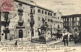 PALERMO  Piazza Bologni Statua Di Carlo V + Timbre Cachet Recto Verso - Palermo