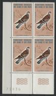AFARS Et ISSAS POSTE AERIENNE COTE 124 € N° 105 Neufs ** (MNH) Bloc De 4 Avec Coin De Feuille Numéroté. COLOMBE / DOVE - Pigeons & Columbiformes