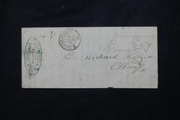 FRANCE - Lettre De St Nazaire  Pour Elbeuf En 1863 Avec Taxe D'acheminement 30 Double Traits - L 81694 - 1849-1876: Periodo Clásico