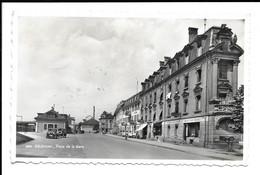 POSTCARD OF DELEMONT , PLACE DE LA GARE , 1955 . - JU Jura