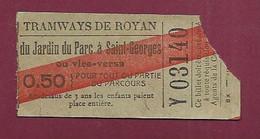 111220A - TICKET CHEMIN DE FER TRAM - Tramways De ROYAN Jardin Du Parc à Saint Georges 0,50 Y03140 - Europe