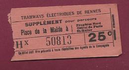 111220A - TICKET CHEMIN DE FER TRAM - TRAMWAYS ELECTRIQUES DE RENNES Supplément Place Mairie Hx 50813 25c - Europe