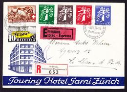 1939 R-Expressbrief Automobil-Postbüro Landi Mit Serie, Mit Zusatzfrankatur. Touring Hotel Garni Zürich - Covers & Documents