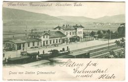 AK Gruss Von Station Grimmenthal Mit ZUG + Zugstempel EISENACH-LICHTENFELS 1902 - Eisenach