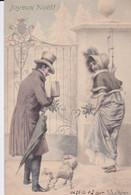 CPA  1902 -  M. M  VIENNE  - COUPLE  - CADEAUX - PAYSAGE D HIVER - JOYEUX NOEL    (lot Pat 110) - Vienne
