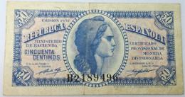 Billete 1937. 50 Céntimos. República Española. Guerra Civil. España. MBC - Unclassified