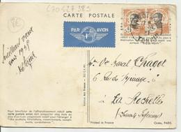 Indochine Carte Postale De HANOI De 1937 Pour La France Avec 2 N° 103 AVION AIR France - Brieven En Documenten