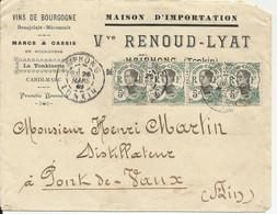 Indochine Lettre De HAIPHONG De 1909 Pour La France Avec 4 N° 44 - Brieven En Documenten