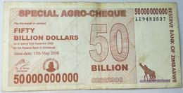 Billete Zimbabwe. 2008. 50.000.000.000 - 50 Billones Dólares. Agro Cheque. MBC - Zimbabwe