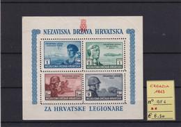 CROAZIA- 1943 N° BF4 MNH - Kroatië