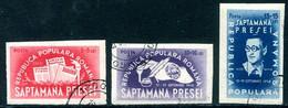 ROMANIA 1948 Democratic Press Week Imperforate Used. Michel 1155-57B - Usado