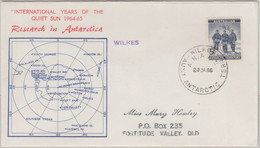 Australian Antarctic Territory - 5 P. Freimarke Schmuckkuvert Wilkes 1966 - Zonder Classificatie
