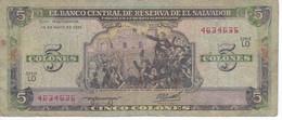 BILLETE DE EL SALVADOR DE 5 COLONES DEL AÑO 1990 DE CRISTOBAL COLON   (BANKNOTE) - El Salvador