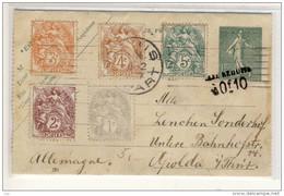 Carte Lettre, Entier Enveloppe,  Affranchissement Multiple, 1, 2, 3, 4, 5c,   1907 Paris Pour Apolda, Allemagne - Standard Postcards & Stamped On Demand (before 1995)