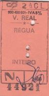 PORTUGAL TRAIN TICKET - VILA REAL- RÉGUA - Ferrocarril