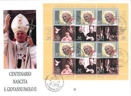 16 OTTOBRE 2020 - CENTENARIO DELLA NASCITA DI PAPA GIOVANNI PAOLO II - CITTA' DEL VATICANO - BUSTONE - FILAGRANO - FDC