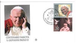 16 OTTOBRE 2020 - CENTENARIO DELLA NASCITA DI PAPA GIOVANNI PAOLO II - CITTA' DEL VATICANO - BUSTA - FILAGRANO - FDC