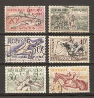 France 1953 - Jeux Olympiques D'Helsinki -  Série Complète° - 960/5 - Equitation - Escrime - Aviron - Natation - Canoe.. - Gebruikt