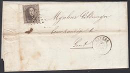 Belgique 1866 - Précurseur LP 142  Avec Timbre Nr 14  à Destination Gavere....  (DD) DC-9658 - 1865-1866 Profilo Sinistro