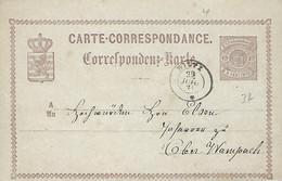 Luxembourg - Luxemburg  -  Carte Correspondance - Correspondenzkarte  1874 - Préfix 7 - Lignes Entrecroisées  2 Scans - Stamped Stationery