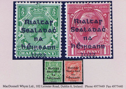 """Ireland 1922 Dollard Rialtas Black Ovpt ½d And 1d Var """"1022"""" Due To Downward Misplacement Mint Hinged, Slight Stain - Unused Stamps"""