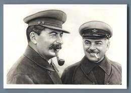 STALIN Smoking Pipe And Marshall Voroshilov Propaganda Russian Unposted Postcard - Sin Clasificación
