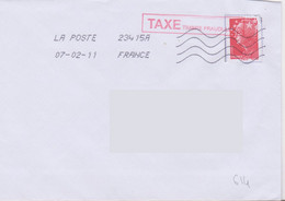 Griffe 1 Ligne TAXE Timbre Frauduleux En Encadré Rouge 50x10 Découpe PAP Inadmis - Lettere Tassate