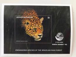 Grenada Grenadines 1992 1 Bloc Neuf ** Wild Animals Cars Jaguar Endangered Spécimens Earth Summit - Felinos