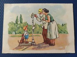 "OLD USSR Postcard  - ""Porridge""   By Severin - Old Russian PC -  Teckel Dog - Cani"