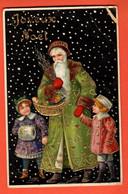 ZDA-03 Joyeux Noël  Père Noël Avec Enfants.. Gaufré, Papier Glacé Circulé 1909, Timbre Manque, Pli Angle. - Santa Claus