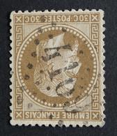 30a Brun Clair, Très Bon Centrage (cote 25€) Variété Fond Ligné, Obl GC 4169 Vesoul (69 Haute Saone ) Ind 2 - 1863-1870 Napoleone III Con Gli Allori
