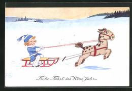 Künstler-AK John Wills: Kind Auf Einem Pferdeschlitten, Neujahrsgruss - Wills, John