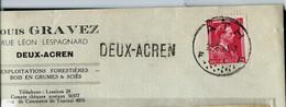 Enveloppe (entière)   Obl. ATH - F F - Du 25/06/43  + Grife De DEUX - ACREN - Griffes Linéaires