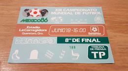 VERY RARE FOOTBALL TICKET WORLD CUP COUPE DU MONDE 1986 MEXICO ESPAGNE SPAIN - DANEMARK DENMARK QUERETARO - Tickets & Toegangskaarten