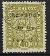 Italy Austrian Occupation  Scott # N42 Used Austria Stamp Surcharged, Trentino, 1918, CV$ 90.00 - Austrian Occupation