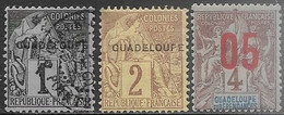 Guadeloupe   1891  Sc#14 1c Used, #15  2c  MH,  1912  #83 5c Surcharge MH   2016 Scott Value $5.70 - Ungebraucht