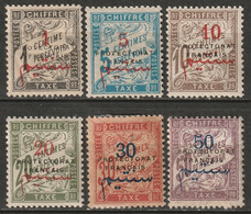 French Morocco 1915 Sc J17-22 Yt T17-22 Postage Due Set MH Some Disturbed Gum - Segnatasse