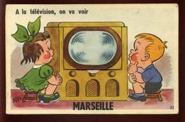 13 - MARSEILLE - CARTE A SYSTEME ILLUSTREE - TELEVISION - SIGNEE BOZZ - Zonder Classificatie