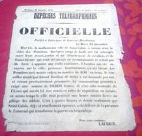 Guerre 1870 Rare Dépêches Télégraphiques Officielle Bordeaux 27 Décembre 1870 Attaque Commune Saint Calais (Sarthe) - Documentos Históricos