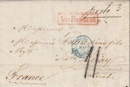 Cachet D'entrée PRUSSE/VALENCIENNES + Aus Russland Sur Lettre 1857 - Entry Postmarks