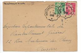 Ferroviaire Seine Et Marne Convoyeur MONTEREAU à LAROCHE Sur Gandon 1948 Devant De Lettre   ...G - Railway Post