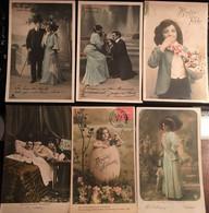 Cpa, éditions Croissant - Paris, Fantaisies, Couples, Femmes, Enfants, Joyeuses Paques, Bonne Fête, Athénée Etc - Sin Clasificación