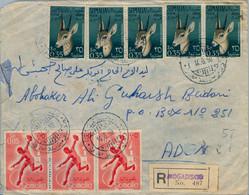 1958 , SOMALIA - SOBRE CERTIFICADO ENTRE MOGADISCIO Y ADEN  , LLEGADA AL DORSO. LLEGADA , ESPECTACULAR FRANQUEO - Somalia