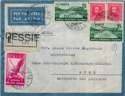 AFRICA ORIENTAL ITALIANA , SOBRE CERTIFICADO POR VIA AÉREA ENTRE DESSIÉ Y ROMA . - Africa Oriental Italiana